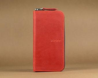 Zip Wallet, Large wallet, Leather wallet, Zipped wallet, Men's wallet, Women's wallet, Iphone wallet, Clutch wallet, Clutch,  Red wallet