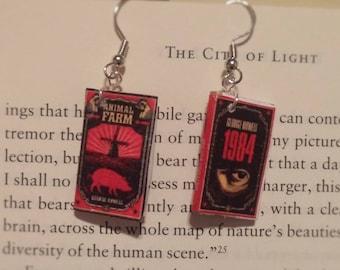 Book Earrings - Animal Farm and 1984
