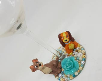 Personalised Disney Lady and the Tramp Wine Glass