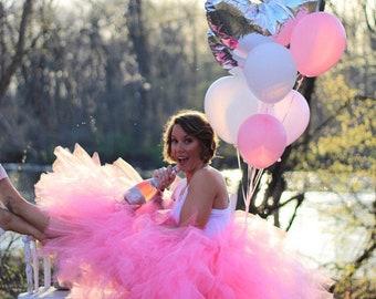 Shocking hot Pink Bridal Tutu, Maternity Tutu, Adult Tutu Skirt, Adult Cake Smash Tutu, Bachelorette Tutus, Gray Adult Tutu for waist up to