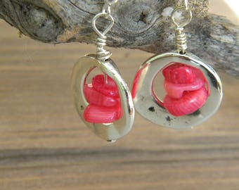 Pink shell beads and silver earrings