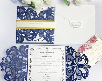 Royal blue Color Laser Cut Invitations Card With Belly Band+ Envelopes