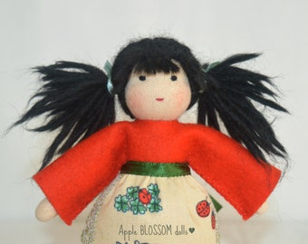 Waldorf doll. Small Waldorf doll. Waldorf doll for nature table. Felt dolls. Small doll for maypole dancing.