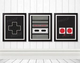 NES Controller Print Set, NES Art, Nerd Art, Geek Gift, Gamer Print - 11x14 Prints