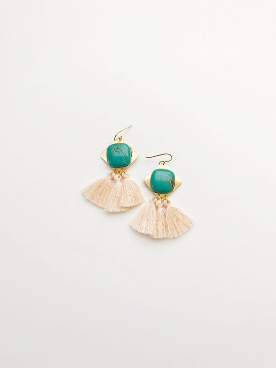 Turquoise and Peach Tassel Earrings