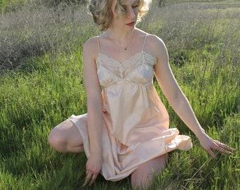 WATERLILLY Slip Dress Vintage 90's Christian Dior Night Gown Lingerie Ballet Pink