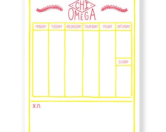 CHI OMEGA Weekly Schedule Notepad