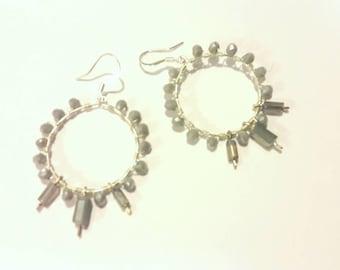 Hoop Earrings -- Gray Crystals -- Beaded Hoop Earrings -- Large Hoops -- Boho Chic Hoops -- Hoop Earrings Silver --