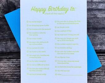 Happy Birthday List - Letterpress Greeting Card