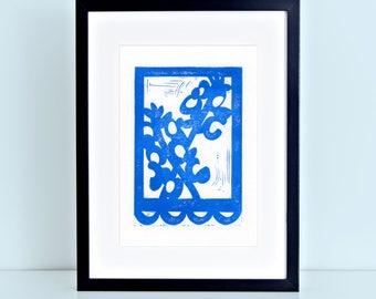 Texas Bluebonnet Digital Art Print Wildflower Papel Picado Blue 8x10 4x6