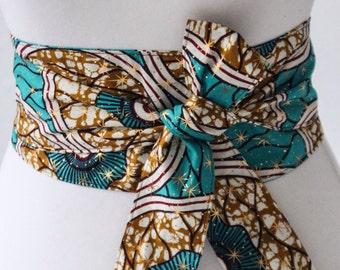 Turquoise Gold Print Obi Belt l African Print Obi Belt | Corset  waist Belt | Ankara Wax Print Belt |Plus size belts| African Print sash bel