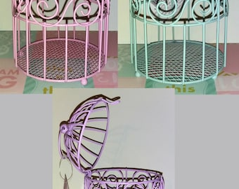 "Open and close metal colored small birdcages, opens from the top, pink purple and green, 5.5""x3.75""x3.75"" Vintage Birdcage decor craft item"