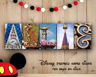 DISNEY THEMED Kids Name Sign in Alphabet Photography - all letters from Disney theme parks, wall decor, personalized names