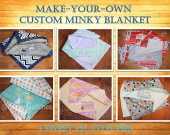 CUSTOM Make-Your-Own PERSONALIZED Boy Girl Embroidered Double Minky Blanket, You choose Fabrics, Colors, Multiple Sizes & Embroidery Options