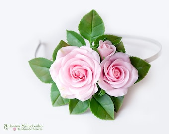 Hairband Pink Roses - Polymer Clay Flowers