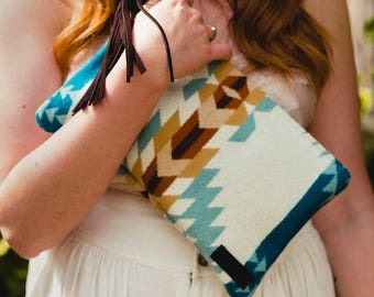 Blue Southwestern Clutch in Pendleton Wool, Western Print Clutch, Southwestern Bag, Aztec Print Bag, Bohemian Clutch, Gypsy Bag, Festival