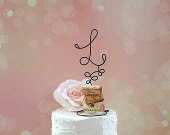 INITIAL Wine Wedding Cake Topper, Wine Lovers Wedding Cake Topper, Vineyard Wedding Cake Decoration, Wine Wedding Monogram Cake Decoration