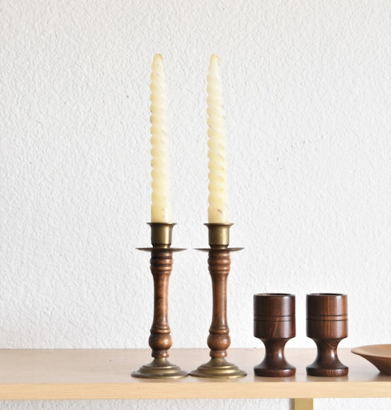 pair of turned mid century wood brass candlestick holders / candleholders