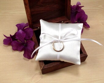 Wedding Ring Pillow, Ring Bearer Box Pillow, Mini Ring Pillow, Rustic Wedding Ring Box Pillow, Jewelry Pad, Small Satin Bridal Ring Pillow
