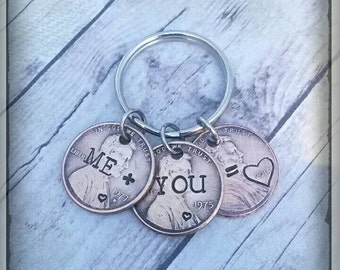 ME + YOU = LOVE * Couples Keychain * Penny Keychain * Birth year of husband and wife * Wedding or Anniversary Year * Hand Stamped * Rustic