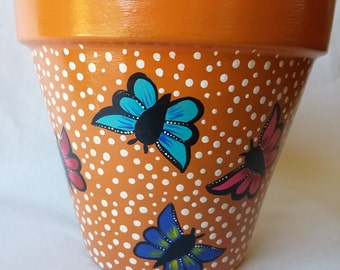 Clay pot, painted pottery,butterfly clay pot, butterfly design, hand painted clay pot, painted planter, butterfly planter, painted flowerpot