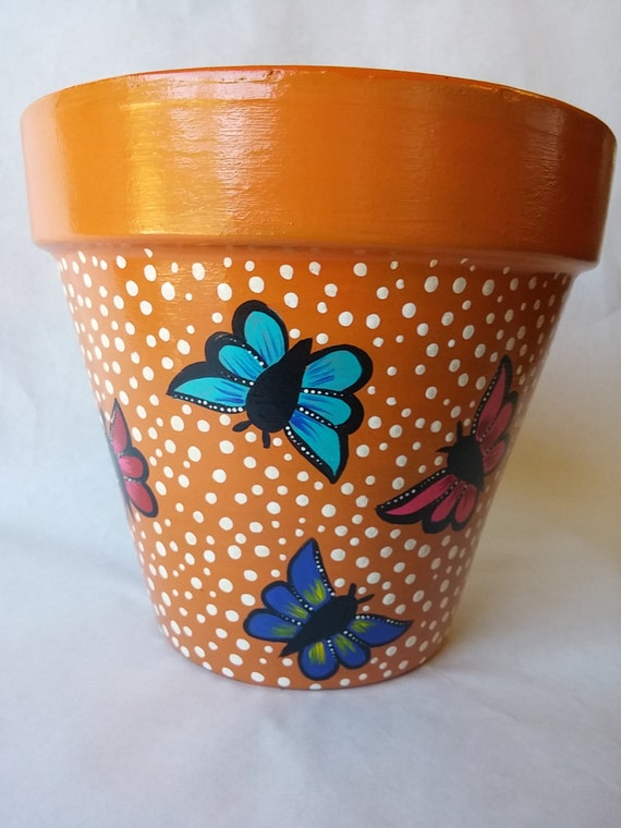 Clay pot painted potterybutterfly clay pot butterfly - photo#20