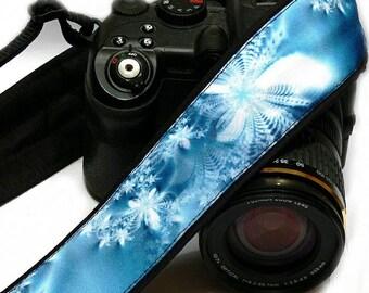 Iceflowers Camera Strap. Blue flowers camera strap. Canon Nikon Camera Strap. Photo Camera Accessories