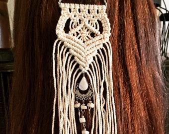 Boho Macrame Hair Pin, Hair Stick, Hair Jewelry, Bridal Hairpiece