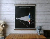 Solar Rays Chart / Vintage Pull Down Chart Reproduction / Canvas Fabric Print / Oak Wood Poster Hanger with Brass Hardware / Wall Hanging