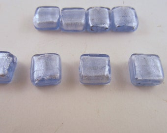 Silver Foil Beads 15x15 sq mm 8 beads light blue