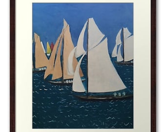 Framed Print Wall Art Taken From The Original Oil Painting 'Les Yacht Classiques II' By Sally Anne Wake Jones