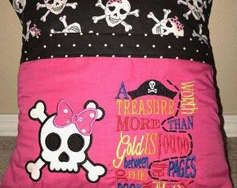 Pirate Girl Reading Pillow