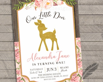 Our Little Deer Birthday Party Invitations, first birthday, flowers, forest, baby deer, digital file or printed