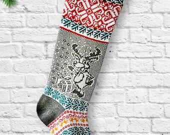 Hand Knitted Christmas Stocking,Christmas Reindeer,Knit Christmas Sock, christmas gift,Snowflakes, Gifts, Long Christmas Stocking