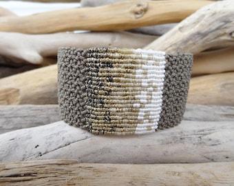 Khaki Macrame Bangle,Knotted Wristband,Micro Macrame Wide Bracelet,Gold Metallic Waxed Thread,Makrame jewelry