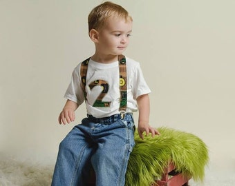 Boy Birthday Outfit: Tractors Birthday shirt, jeans, suspenders, yellow, green, brown, adjustable, removable, up cycled, birthday party