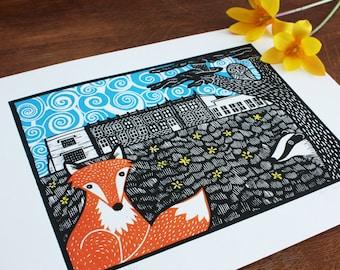 Delapre Abbey, 3 blocks, Original Linocut Print, Signed Open Edition, Free Postage in UK, Block print,  Printmaking,