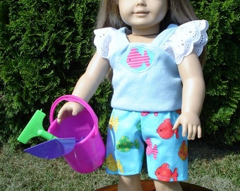 18 Inch Doll Clothes - Colorful Fish Shorts Outfit with Sand Toys handmade by Jane Ellen to fit 18 inch dolls