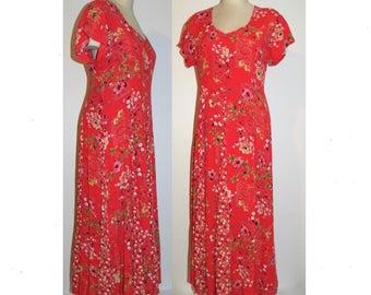 1990s Red MAXI Midi Dress / Grunge Revival FLORAL Bohemian Boho Festival / Vintage size M