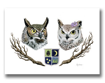 Owl Bird Couple art print - Anniversary Gift - Wedding Gift - Horned Owl - Night Owls -  Ryan Berkley Illustration - Birds