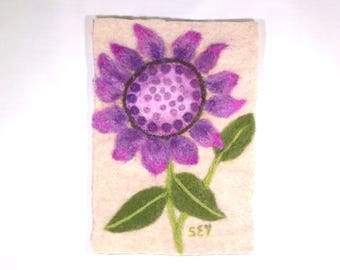 Wool Painting - Needle Felted Flower - Floral Art - Purple Flower - Needlefelt - Home Decor - 5x7 Inch Frame Size - Fiber Art