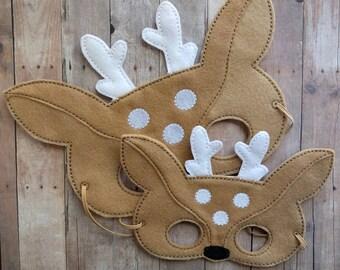 Deer Felt Mask in 2 Sizes, Elastic Back, Beige and White Acrylic Felt, Made in USA, Cosplay, Kids Costume, Animal Mask, Halloween