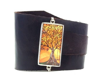 Leather Wrap Wrist Cuff with Tree and Swing by April Lacheur Shi Studio Artist Series