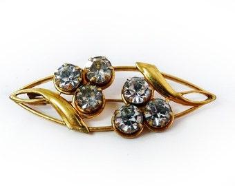 1940s Brooch Pin Gold Rhinestone Marked MK5 Art Deco Pin Brooch