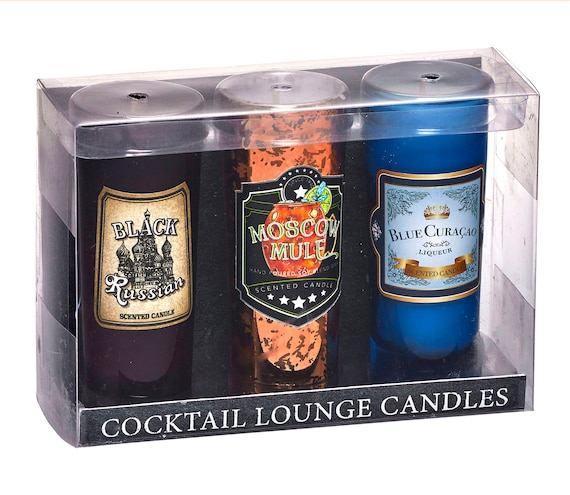 3-Piece Cocktail Party Candle Gift Set - Scents of Black Russian, Moscow Mule and Blue Curacao