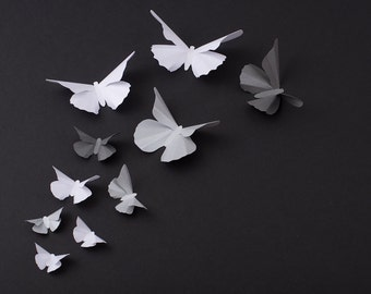 3D Butterfly Wall Art: Metallic Silhouettes for Girls Room, Nursery, and Home Art Decor - Grey, Silver & White Mix