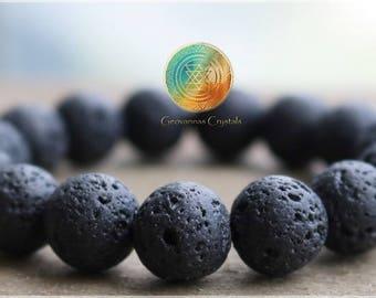 Lava Rock Bracelet, 10mm Genuine Black lava Bracelet, Womens or Mens Bracelet, Stone Stretch Bracelet, Beaded Jewelry, Healing,Volcanic Bead