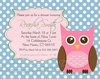 Owl Shower Invitation, Owl Baby Shower Invitation, Owl Bridal Shower Invitation, Polka Dot Owl - Custom Printable