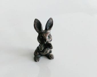 Vintage pewter bunny rabbit miniature figurine