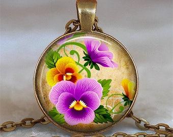 Pansies on Gold necklace, sorority flower pendant sorority jewelry pansy pendant gardener's gift sorority sister key chain key ring key fob